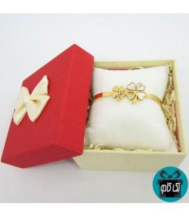 دستبند استیل زنانه مدل چهار برگ