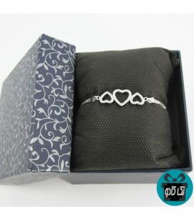 دستبند زنانه نقره مدل 3 قلب
