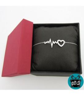 دستبند نقره مدل ضربان قلب